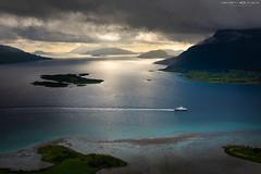 Down in the fjord (Kenneth Solfjeld) Tags: norway fjord helgeland nordland ranfjorden nesna leirfjord hugla kjølennesna nesnafjellet blue ferry azure dønna dramaticscene