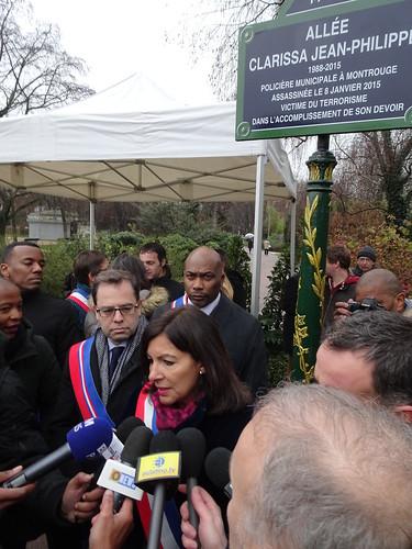 Dévoilement plaque Clarissa Jean-Philippe, Parc du Serment de Koufra - 10 janvier 2019