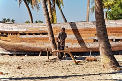 Bending Timber (Rod Waddington) Tags: africa african afrique afrika madagascar malagasy boat wood wooden building outdoor bending timber palm trees beach sailing