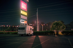 (patrickjoust) Tags: fujica gw690 kodak portra 160 6x9 medium format 120 rangefinder 90mm f35 fujinon lens cable release tripod long exposure manual focus analog mechanical c41 color negative film patrick joust patrickjoust south southern united states north america estados unidos family dollar sign strip mall rv camper recreational vehicle parked auto automobile parking lot augusta georgia ga finance night after dark
