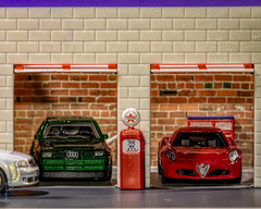 An Audi and and Alfa Detail (Wade Brooks) Tags: artbywadebrooks audi gasstation hotwheels thetoycarproject toycars