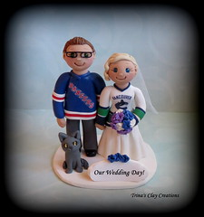 Wedding Cake Topper (Trina's Clay Creations) Tags: art sculpture clayfigure caketopper customcaketopper claycaketopper trinasclaycreations trinaprenzi topper brideandgroom weddingcaketopper wedding whimsical weddingdecor weddingcake polymerclay personalized groomscake sports