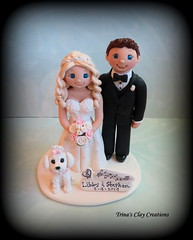 Wedding Cake Topper (Trina's Clay Creations) Tags: art sculpture clayfigure caketopper customcaketopper claycaketopper trinasclaycreations trinaprenzi topper brideandgroom weddingcaketopper wedding whimsical weddingdecor weddingcake polymerclay personalized groomscake dog animal musicnotes
