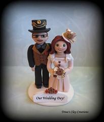 Wedding Cake Topper (Trina's Clay Creations) Tags: art sculpture clayfigure caketopper customcaketopper claycaketopper trinasclaycreations trinaprenzi topper brideandgroom weddingcaketopper wedding whimsical weddingdecor weddingcake polymerclay personalized groomscake