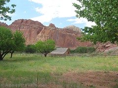 Barn in Fruita (Annes Travels) Tags: capitolreefnationalpark utah apricots fruit orchard fruita pickyourown barn cliffs