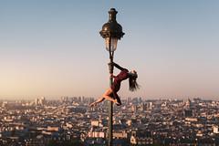 (dimitryroulland) Tags: nikon d750 85mm 18 dimitryroulland performer art artist poledance pole dance poledancer urban street city paris france montmartre natural light sun rise panorama view pointe dancer