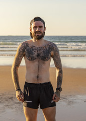 Terry (areavie@gmail.com) Tags: termoneeny running athletic club tattoos tattoo portrush canon 5d iv alan reevee waves beach shore sand