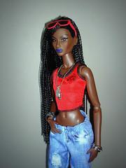 Annik (Deejay Bafaroy) Tags: fashion royalty fr integrity toys black doll puppe barbie annik theawakening awakening nuface portrait porträt red rot blue blau outfit sunglasses sonnenbrille