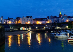 Tenby twilight. (S.K.1963) Tags: tenby pembrokeshire harbour lights reflection water boats church colours olympus omd em1 mkiii 714mm 28 sky twilight