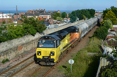 2018-06-28 @ Seaham: 6S26 1840 Seaham Cement Terminal-Oxwellmains Lafarge: Class 70 no. 70817 [DSC_3983] (graeme9022) Tags: colas rail railfreight freight wagons north east england northern eastern region durham coast route county yellow orange livery gec type 5 diesel electric locomotive engine coco powerhaul