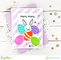 Hippity Hoppity (akeptlife) Tags: sugarpeadesigns stamping stamp card cardmaking papercrafting easter bunny craftdie coverplate coverpanel eggalicious zigzagstitchedrectangles diagonalstripedcoverplate stripes