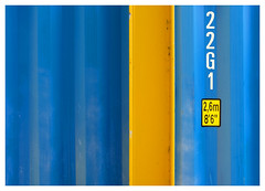 22G1 (Dave Button) Tags: yellow blue container numbers metal girder urban city abstract industrial iron fuji fujifilm border color colour provia 23mm universityofnottingham nottingham