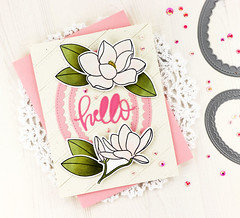 Magnolia Hello (akeptlife) Tags: prettypinkposh magnolia card cardmaking stamping stamp papercrafting hello hellofriendscript word worddie craftdie scallopoval stitchedbordersthree