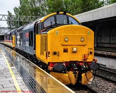 37402 @ Stafford (A J transport) Tags: class37 diesel 37402 locomotive drs br largelogo railway trains england wcml