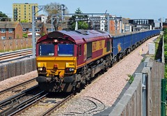 66129 is seen at Abbey Wood on the 13.49 Hither Green Down Reception yard to Angerstein Wharf working on 27-6-19. Copyright Ian Cuthbertson (I C railway photo's) Tags: class66 66129 shed ews abbeywood