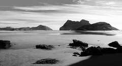 Dream vision (little_frank) Tags: whararikibeach newzealand southisland sand sandy panorama landscape sea pacificocean rocks geology skyline dream dreamy oneiric vision exploring nature wild wilderness sunny blackandwhite blackwhite shadows oceania middleearth aotearoa goldenbay beautiful natural