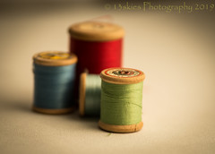 Spools (13skies) Tags: spoolsofthread thread slow sewing oldschool colours color sew needleandthread fix mend depthoffield shallow dof