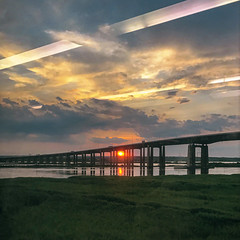Moving Train Window Sunset - 2019 (gimmeocean) Tags: sunset bridge iphoneography iphonenography snapseed newjerseytransit njt newjersey nj outside water sky light sun landscape summer orange reflection squarecrop square