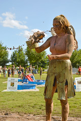 Mud fairy at work (radargeek) Tags: internationalmudday 2018 june myriadgardens oklahomacity okc downtown kid kids children child mud kiddiepool pool