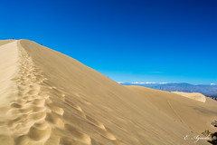 Up the hill (E. Aguedo) Tags: sand desert ica peru southamerica huacachina sky blue yellow arid steep steps
