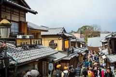 Nineizaka - Kyoto, Japan (nivagyag73) Tags: 2019 asia canon ef2470f28lusm eos5dmarkiii higashiyamaku honshu japan kansairegion kyoto kyōtoprefecture ninenzaka outdoor pedestrian people streetscape building store