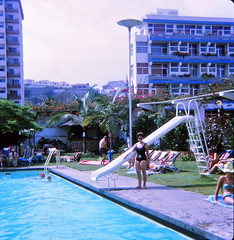 IMG_0002a Tenerife largest of Spain's Canary Islands Aug 1969 Swimming Pool Slide (photographer695) Tags: geoff jean spafford rip old family photos tenerife largest spain's canary islands aug 1969 swimming pool slide