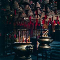 Man Mo Temple #1 (RunnyInHongKong) Tags: vuescan nikoncoolscan9000 manmotemple mediumformat film 6x6 hongkong carlzeiss80mmf28 fujipro800z hasselblad500cm hollywoodroad negativelabpro square