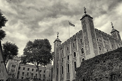 Tower of London - London, England (fisherbray) Tags: fisherbray uk unitedkingdom england london greatbritain nikon d5600 toweroflondon hermajestysroyalpalaceandfortressofthetoweroflondon castle londonburoughoftowerhamlets towerhamlets unesco bw monochrome silverefexpro whitetower waterloobarracks