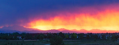 Fantastic sky tonight! (oceanzam) Tags: sky sun cloud sunset color colorful mountains peak summer dusk landscape colorado rocky rockies red blue yellow garden trees outdoors front range foothills panorama