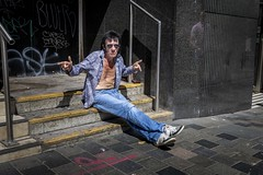 Jailhouse Rock (Leanne Boulton) Tags: urban street candid spontaneous portrait portraiture streetphotography candidstreetphotography candidportrait streetportrait streetlife sociallandscape man male face expression emotion mood gesture atmosphere style doorway steps grit grime dirty graffiti tone texture detail depth naturallight outdoor sunlight light shade shadow city scene human life living humanity society culture lifestyle people canon canon5dmkiii 35mm ef2470mmf28liiusm color colour glasgow scotland uk