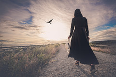 path to the light (Photo Alan) Tags: sunset bird vancouver canada people street streetpeople nature clouds cloud road way woman wilderness wildlife