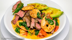 Surf and turf. Prawns, scallops, and scotch fillet steak with garlic, spinach, tomatoes, and cream. (garydlum) Tags: blackpepper cream garlic iodisedsalt paprika prawns scallops scotchfilletsteak spinach tomatoes canberra australiancapitalterritory australia