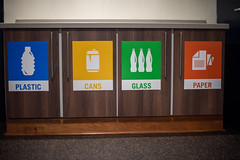 Recycle signs on disposal bins (Rushay) Tags: recycle glass cans signs plastic paper grahamstown southafrica