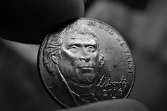 Can we trust? (Carlos A. Aviles) Tags: blackandwhite blancoynegro monochrome macro coin moneda dinero money