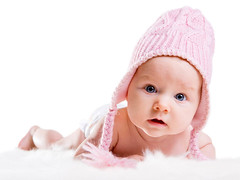 Winter Baby (content_vimbox) Tags: baby girl hat cloth accessory child winter pink adorable beautiful caucasian childhood portrait cute blueeyes face funny happy infant little warm sweet toddler white young isolated looking knit pose innocent kid finland