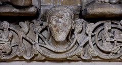 Münster, Westfalen, Paulusdom, Paradies, fries, west side:  face among the foliage (groenling) Tags: münster westfalen dom paulusdom nordrhein nrw cathedral germany de deutschland paradies entry eingang fries friese stone carving stonecarving stein face gesicht vine weinreb