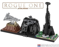 "Lego Star Wars - ""Rogue One"" Skyline MOC (BenBuildsLego) Tags: rogue one jyn erso director krennic darth vader cool star wars lego legos micro microscale skyline bricklink studio 3d render brick bricks toy toys architecture design tower scarif eadu jedha destroyer empire imperial"