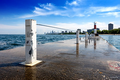 Pierscape (Andy Marfia) Tags: chicago lakeview montroseharbor pier lakemichigan lakefront lake water blue sky summer sonyrx100 1400sec f8 iso125