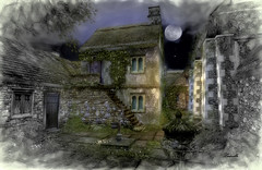 Memories (Ladmilla) Tags: sl secondlife art digitalart landscape village englishvillage victorian gothic english rural goatswood courtyard houses sky moon old