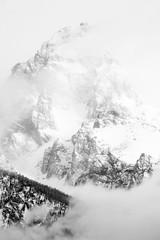 Grand Teton shrouded in clouds. April, 2019. (Guillermo Esteves) Tags: nationalparks moose grandteton fujifilmxt3 grandtetonnationalpark wyoming landscapes fujifilm blackandwhite unitedstates unitedstatesofamerica