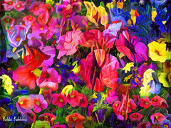 Lush (brillianthues) Tags: flowers floral nature garden abstract colorful collage photography photmanuplation photoshop