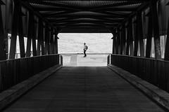 Don't move! / (through the) barrel of a bridge (Özgür Gürgey) Tags: 2019 24120mm bw d750 elbe hamburg nikon architecture geometry leading people symmetry überseebrücke hafen