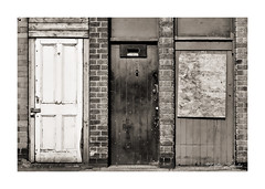 3 Doors (PeteZab) Tags: door 3 three urban texture blackandwhite bw mono toned westernstreet nottingham uk peterzabulis