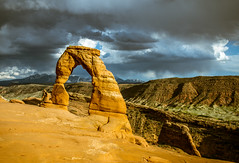 Delicate Arch (maberto) Tags: sunset rock landscape utah nationalpark nikon sandstone arch arches canyon goldenhour d7200 ©bradmaberto mountains cloudy