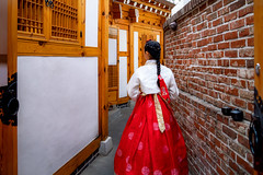 Korean lady in Hanbok (anekphoto) Tags: seoul hanbok korea korean street south city ancient lady palace traditional girl bukchon travel walk beautiful dress beauty costume village hanok young people woman background old pretty outdoor gyeongbokgung culture asian asia tradition town red female tourist color art portrait smile tourism wear blue green white attractive fashion colorful vintage