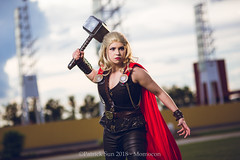SP_76995-2 (Patcave) Tags: momocon momocon2018 2018 convention cosplay costumes cosplayers portrait shoot shot canon 1740mm f4 sigma 85mm f14 lens patcave 5d3 atlanta georgia world congress center outdoors hot humid thor hammer uru mjolnir marvel genderbend cinematic universe comics cape rule63 asgardian hero blonde