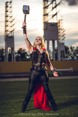 SP_77201-2 (Patcave) Tags: momocon momocon2018 2018 convention cosplay costumes cosplayers portrait shoot shot canon 1740mm f4 sigma 85mm f14 lens patcave 5d3 atlanta georgia world congress center outdoors hot humid thor hammer uru mjolnir marvel genderbend cinematic universe comics cape rule63 asgardian hero blonde