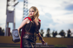 SP_77013-2 (Patcave) Tags: momocon momocon2018 2018 convention cosplay costumes cosplayers portrait shoot shot canon 1740mm f4 sigma 85mm f14 lens patcave 5d3 atlanta georgia world congress center outdoors hot humid thor hammer uru mjolnir marvel genderbend cinematic universe comics cape rule63 asgardian hero blonde