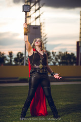 SP_77193-2 (Patcave) Tags: momocon momocon2018 2018 convention cosplay costumes cosplayers portrait shoot shot canon 1740mm f4 sigma 85mm f14 lens patcave 5d3 atlanta georgia world congress center outdoors hot humid thor hammer uru mjolnir marvel genderbend cinematic universe comics cape rule63 asgardian hero blonde