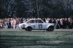 Lombard RAC Rally, Blenheim Palace, 1977 (beareye2010) Tags: rally rallyinginthe1970s rallycar lombardracrally lombardracrally1977 blenheimpalace 1977 1970s mickeymousestage nigelrocky derektucker rs1800 fordescort fordrallycar car33
